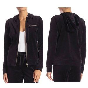 French Dressing Velvet Front Zipper Hooded Jacket